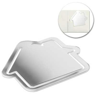 Lesezeichen aus metall in haus form das logo wird for Haus aus metall